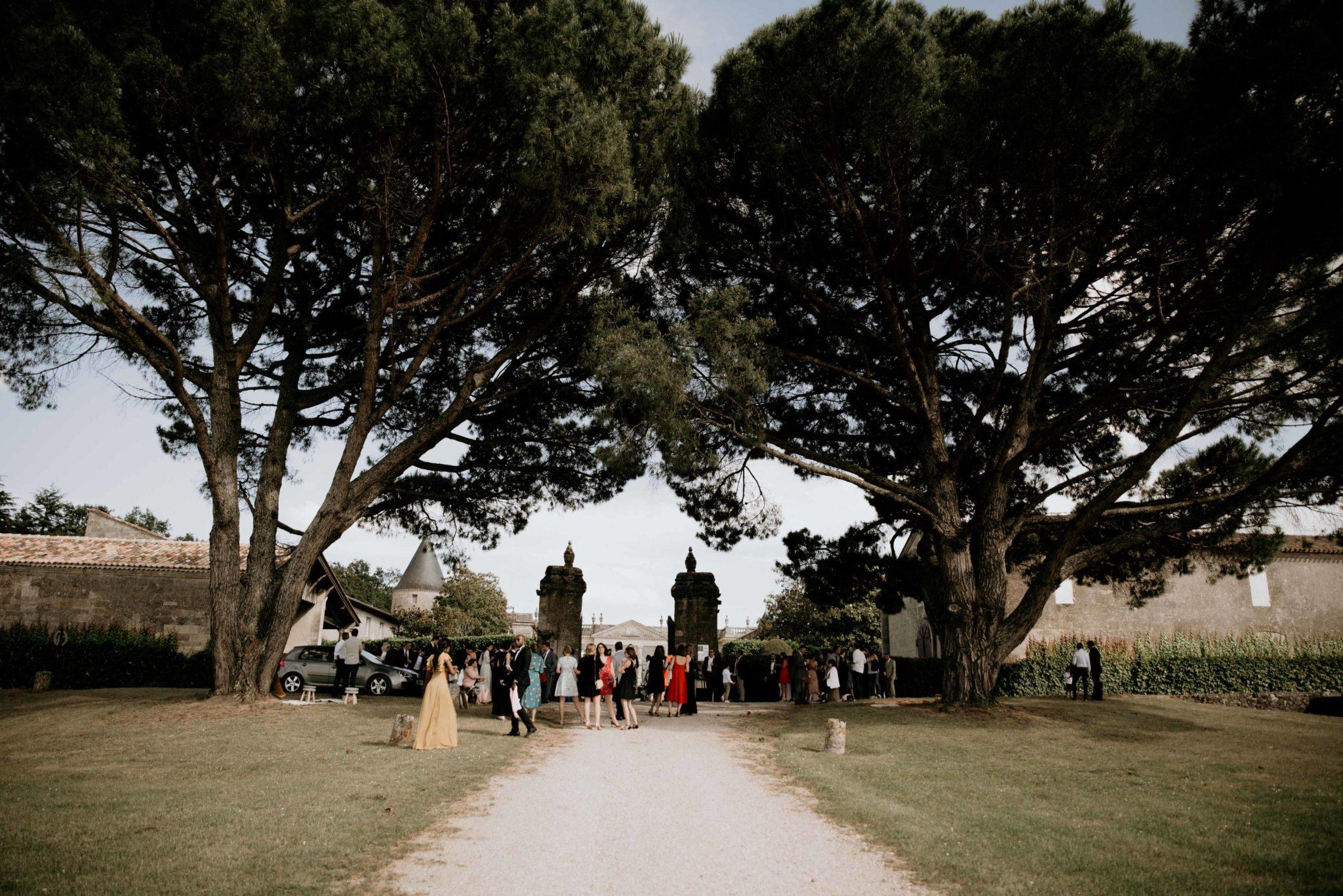 Mariage au milieu des vignes, entrée du chateau