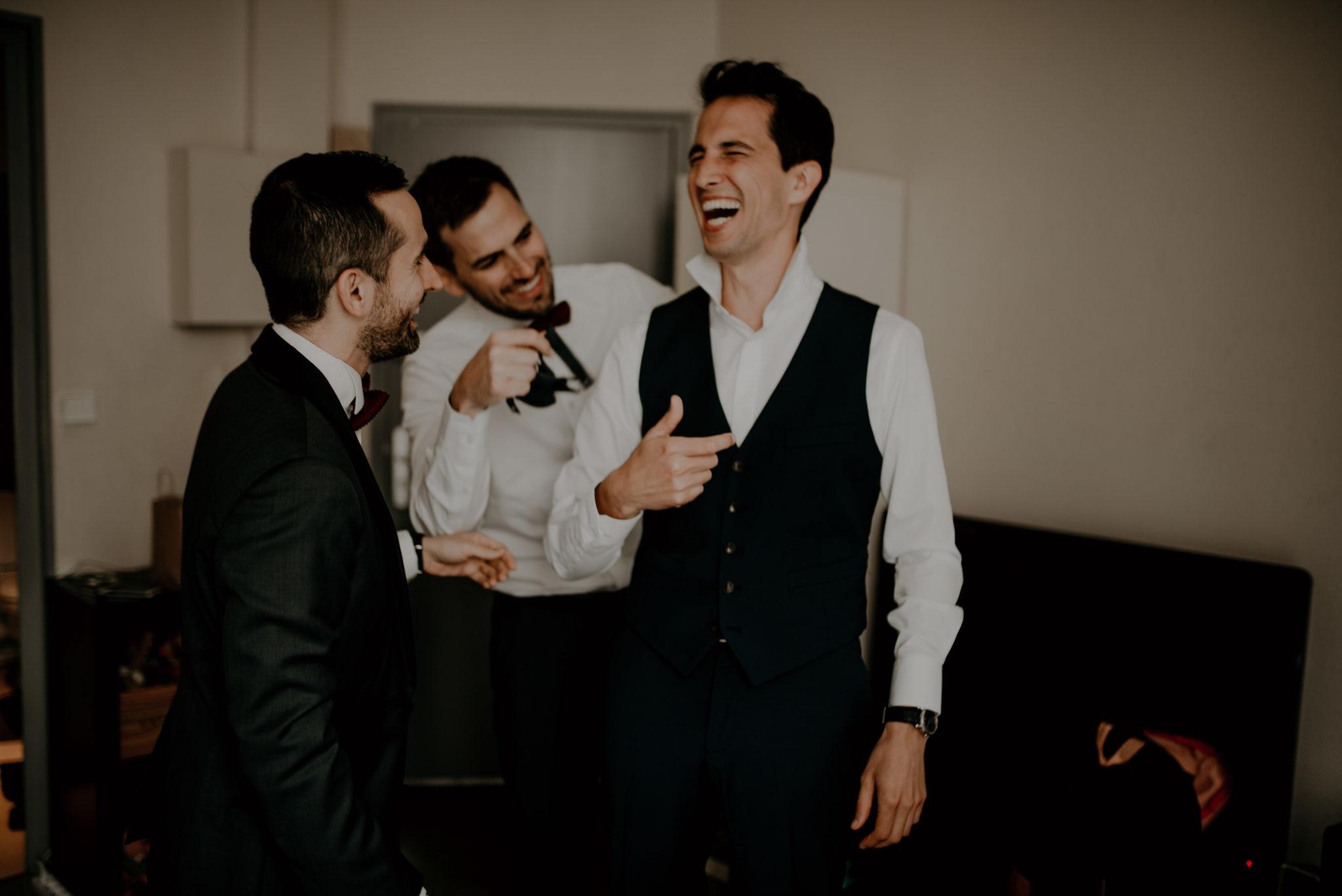 Mariage au milieu des vignes, préparation, rires