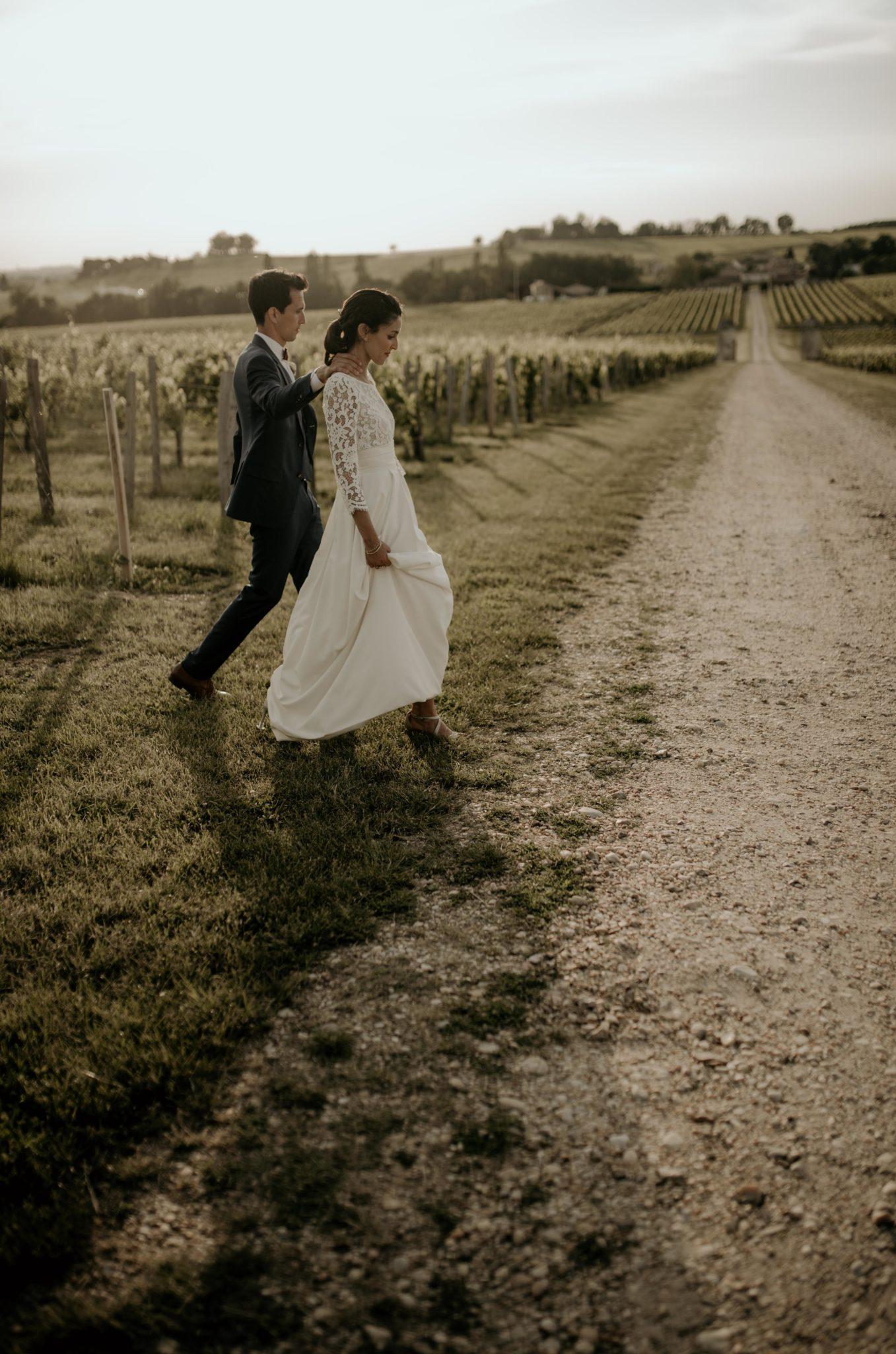 photo de couple, Mariage au milieu des vignes bordeaux