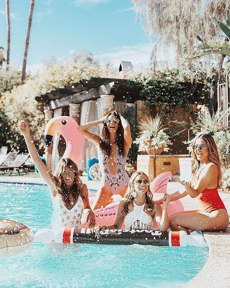 Team bride, piscine soleil